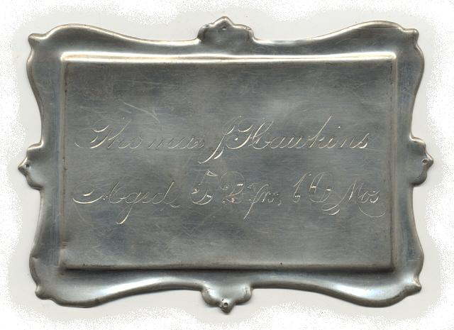 The Free Genealogy Death Record on the Coffin Plate of Thomas Hawkins