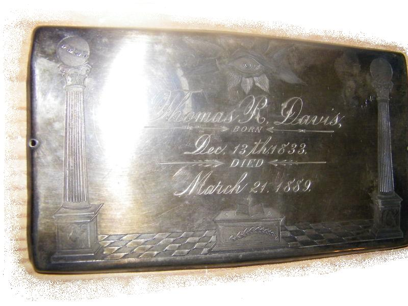The Free Genealogy Death Record on the Coffin Plate of Thomas R Davis 1833 ~ 1889