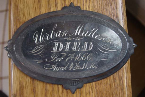 The Free Genealogy Death Record on the Coffin Plate of Urban Matteson 1862  ~ 1866