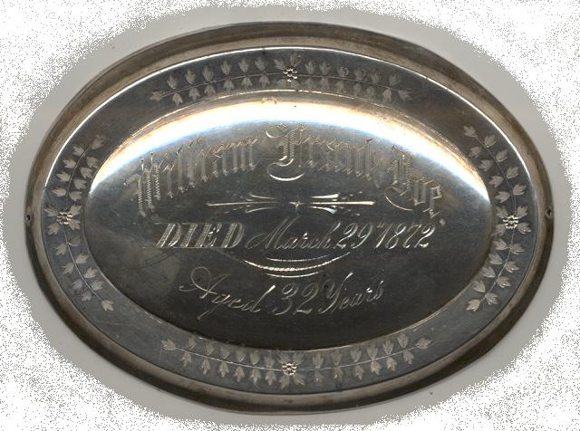 The Free Genealogy Death Record on the Coffin Plate of William Frank Doe 1840 ~ 1872