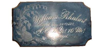 The Free Genealogy Death Record on the Coffin Plate of William Rhubart 1834 ~ 1885