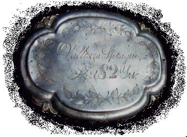 The Free Genealogy Death Record on the Coffin Plate of William Sprague, Age 82 years