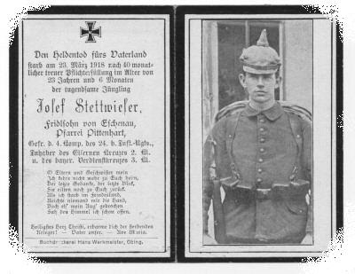 Death Record on the Memorial Card of Josef Stettwieser