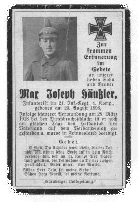 Death Record on the Memorial Card of Joseph Haeussler