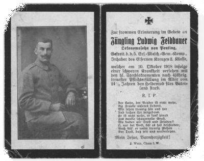 Death Record on the Memorial Card of Ludwig Feldbauer