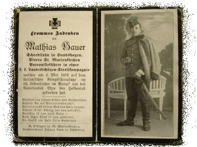 Death Record on the Memorial Card of Mathias Bauer