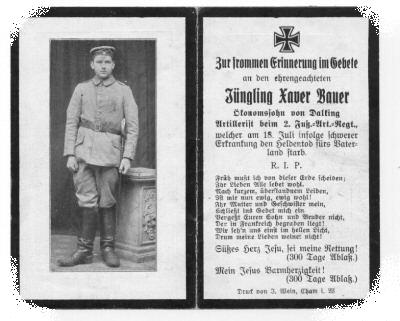 Death Record on the Memorial Card of Xaver Bauer