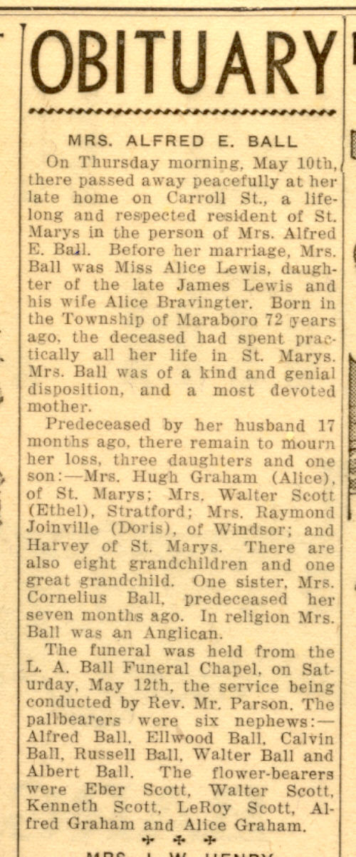 Death Record in the Obituary of Mrs Alfred E Ball, St. Marys Ontario ...