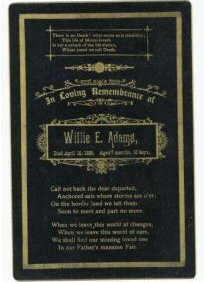Willie Adams Death Card