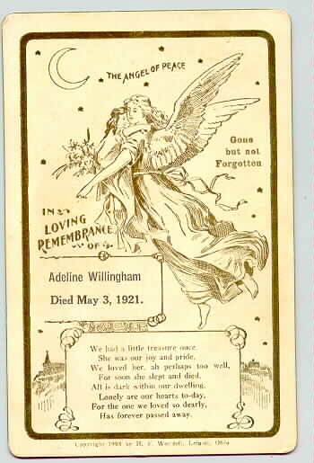 Death Record on the Memorial Card of Adeline Willingham