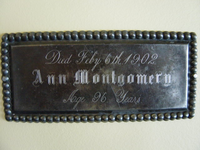 Birth & Death Record on the Coffin Plate of Ann Montgomery 1806~1902