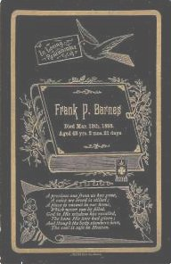Funeral Card for Frank P. Barnes,  died March 12, 1895