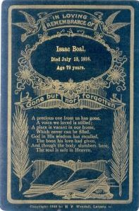 Funeral Card for Isaac Boal 1837 - 1916