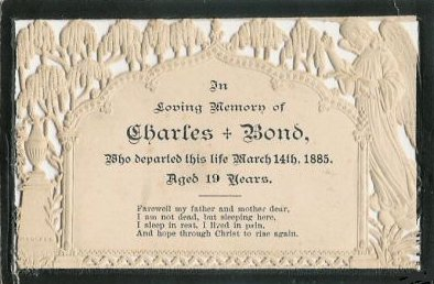 Funeral Card Charles Bond 1864 - 1885 England