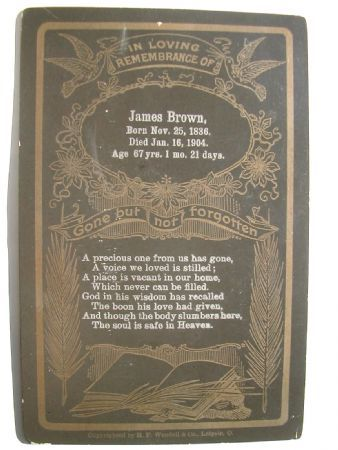 Death Record James Brown 1836 - 1904