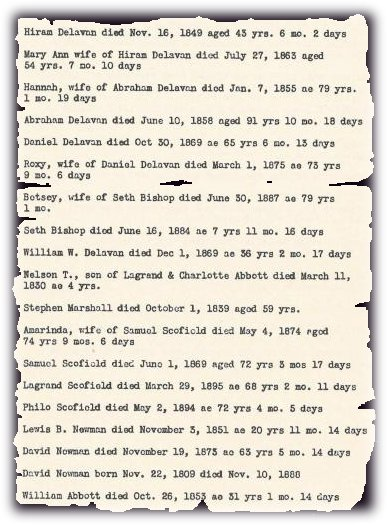 Cemetery records in Pound Ridge, Westchester County, New York