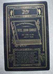 Death Announcement Remembrance Funeral Card for Mrs. John Christ 1805 - 1892