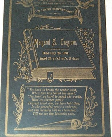 Funeral Card for Margaret Cosgrove 1867-1891