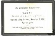 Funeral Notice for Sarah, wife of George Coxon, 1855 - 1889. Derbyshire, England
