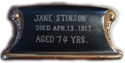 The Birth Record and Death Record on the Coffin Plate of Jane Stinson is Free Genealogy