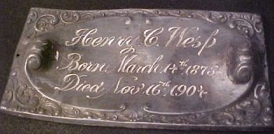 Henry Wesp birth and death record on coffin plate