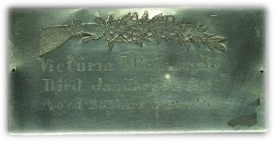 Birth & Death Record on the Coffin Plate of Victoria McIlmoyle 1878~1898