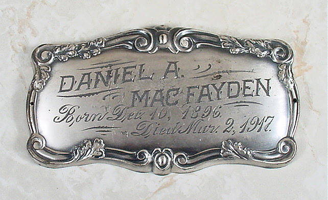 Birth & Death Record on the Coffin Plate of Daniel A. Macfayden