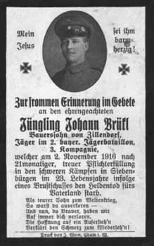 Death Record of Johann Bruckl