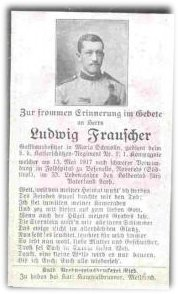 Birth Record & Death Record on the German Death Card of Ludwig Frauscher