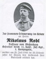 Death Record of Nikolaus Robl