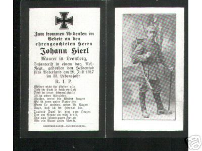 Birth Record & Death Record on the German Death Card of Johann Hierl
