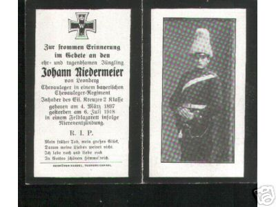 Birth Record & Death Record on the German Death Card of Johan Niedermeier 1897~1918