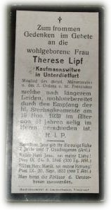 Birth Record & Death Record on the German Death Card of Therese Lipf