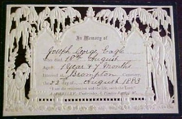 Funeral Memorial Mourning card JOSEPH GEORGE EAGLE 1882 -  1883 Interred Brompton Cemetery England