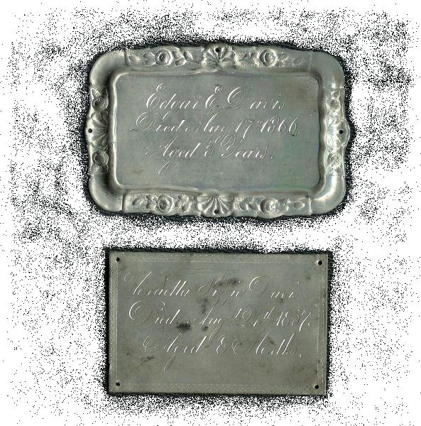 The Free Death Record on the Coffin Plate of Edgar E Davis is Free Genealogy
