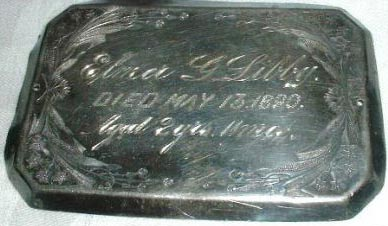Birth & Death Record on the Coffin Plate of Elmer G. Libby