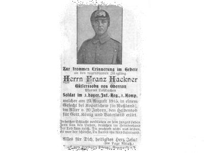 Death Record on the Memorial Card of Franz Hackner