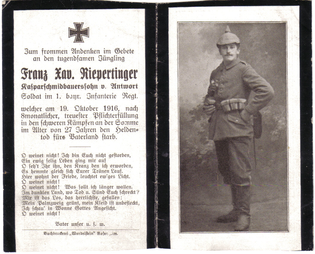 Death Record on the Memorial Card of Franz Xaver Riepertinger