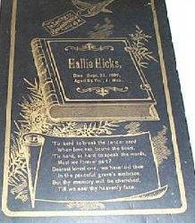 Funeral Card for Hallie Hicks  1836 - 1890
