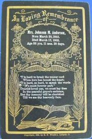 Funeral Card for Johanna M. Anderson 1845 - 1902