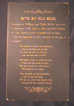 Funeral Death Record Card Mattie May Belle Miller daughter of William Miller Delaware Ohio