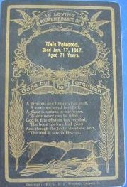 Funeral Card for Nels Peterson 1846 - 1917