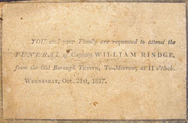 Invitation to funeral of Captain William Rindge October 21 1817 – Invitation for Funeral Ceremony