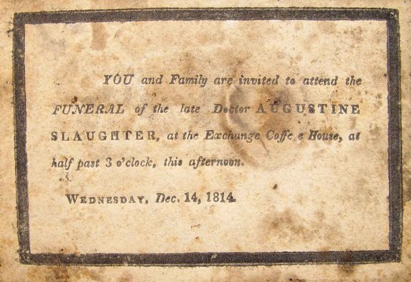 Funeral Death Card for Augustine Slaughter