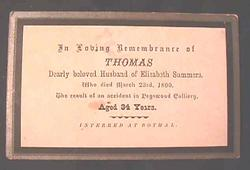Death record Thomas Summers 1856 - 1890