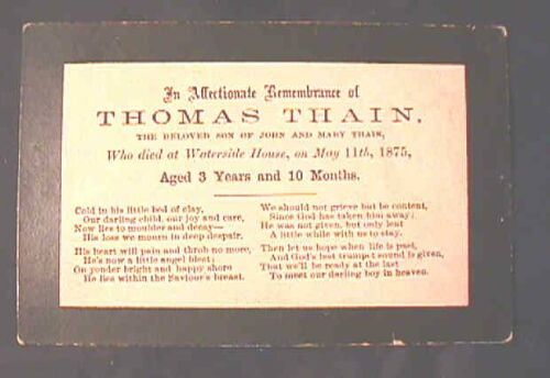 Funeral Remembrance Card for Thomas Thain 1871 - 1875