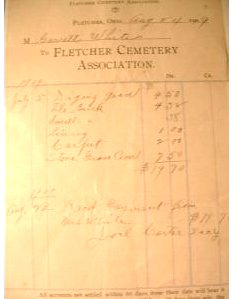 Fletcher Cemetery Ohio bill to Garrett White for grave, 24 Aug. 1909
