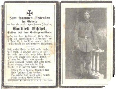 Death Record on the Memorial Card of Gottlieb Bischel