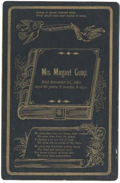 Funeral Card for Margaret Gump 1825 - 1891 Pennsylvania