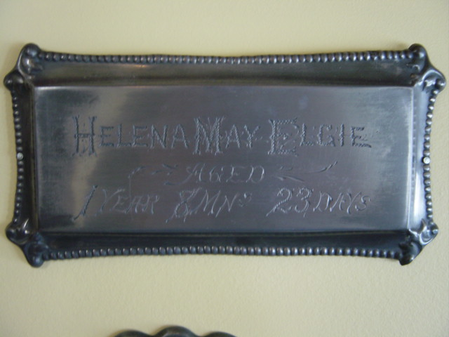 Birth & Death Record on the Coffin Plate of Helena May Elgie